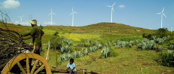 India fields and wind turbines