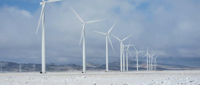 wind turbines and snow